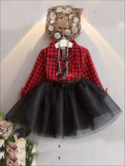 Girls Red Plaid Button Down Collared Tutu Dress with Fixed Belt - Girls Fall Dressy Dress