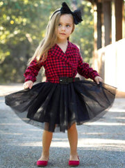 Girls Red Plaid Button Down Collared Tutu Dress with Fixed Belt - Red / 3T - Girls Fall Dressy Dress