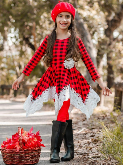 Girls Red Plaid Crochet Trimmed Handkerchief Tunic & Leggings Set - Girls Fall Dressy Set