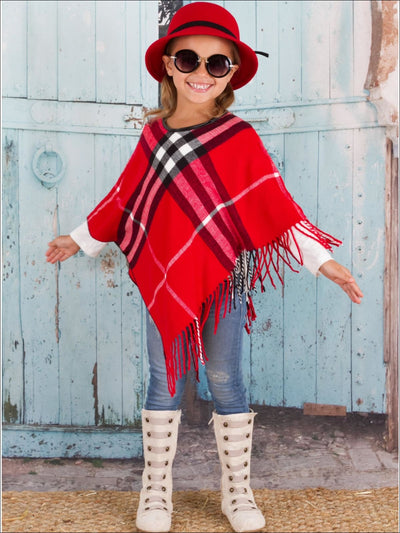 Girls Red Plaid Fringe Poncho - Girls Sweater