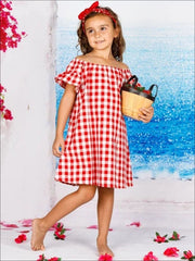 Girls Red Plaid Ruffled Off The Shoulder Summer Dress - Girls Spring Casual Dress