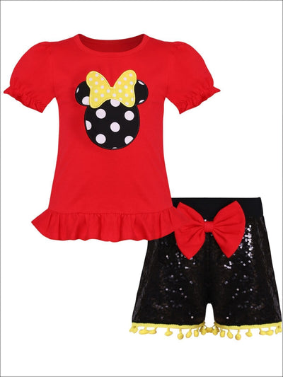 Girls Red Polka Dot Mouse Ruffled Top & Black Sequin Pom Pom Shorts with Bow - Girls Spring Casual Set
