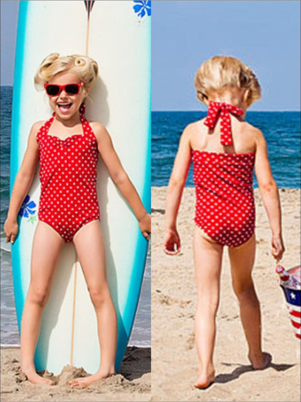 Girls Red Polka Dot Retro Halter Swimsuit - Red / 3 4Y - Girls One Piece Swimsuit