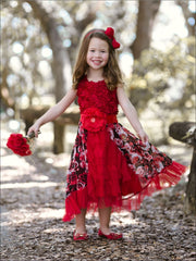Girls Red Rose Rosette Bodice Ruffled Princess Dress - Girls Fall Dressy Dress