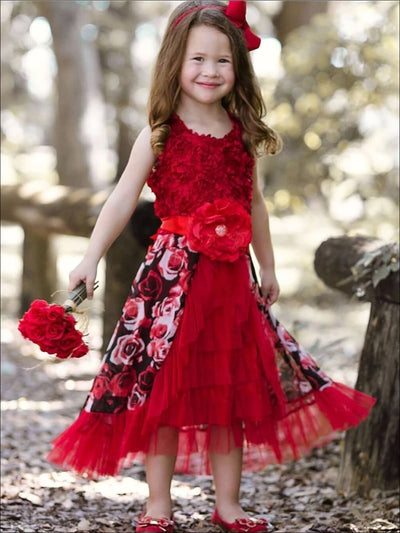 Girls Red Rose Rosette Bodice Ruffled Princess Dress - Red / 2T - Girls Fall Dressy Dress