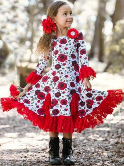 Girls Red Rose Twirl Dress with Lace Ruffles - Girls Fall Dressy Dress