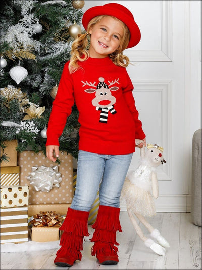 Girls Red Rudolph Print Cowl Neck Christmas Sweater - Girls Sweater