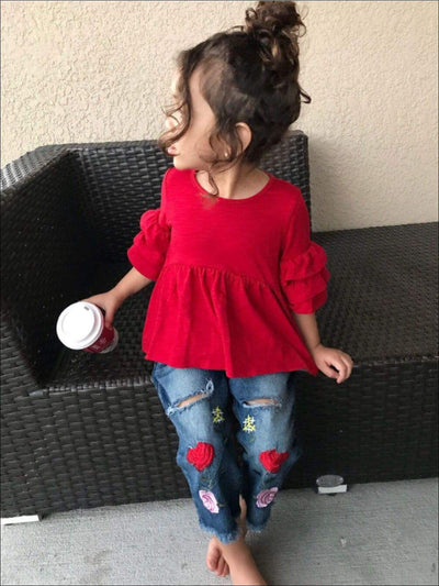Girls Red Ruffled Sleeve Top & Rose Applique Distressed Jeans Set - Girls Fall Casual Set