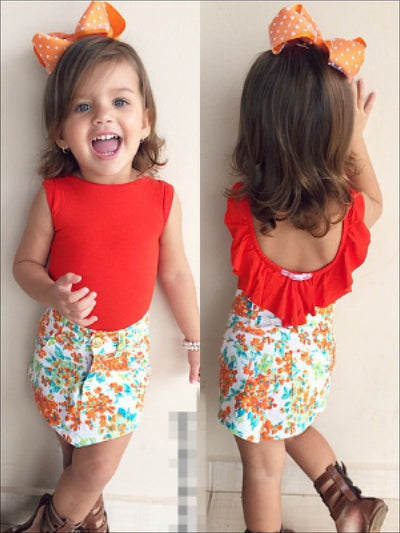 Girls Red Ruffled Top & Floral Skirt Set - Girls Spring Casual Set