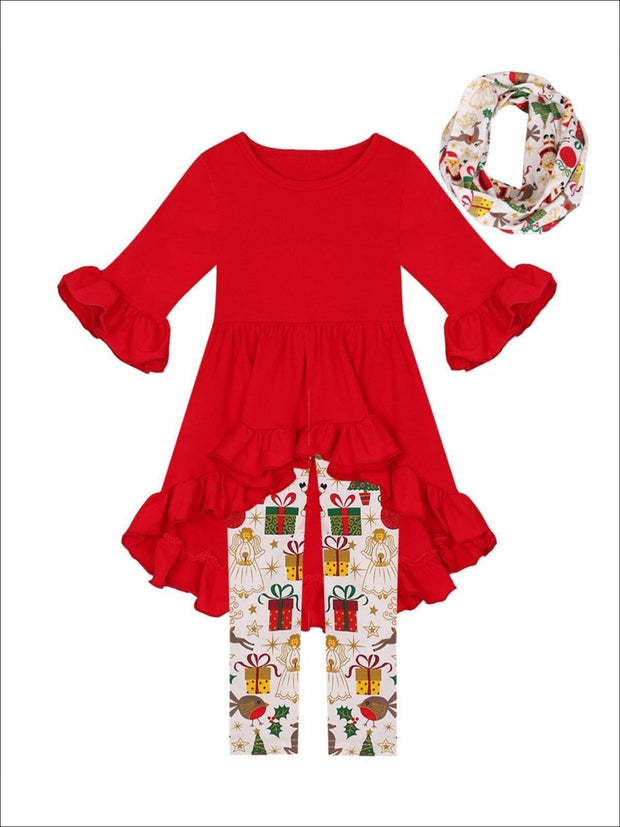 Girls Red Ruffled Tunic Christmas Print Leggings & Scarf Set - Girls Christmas Set
