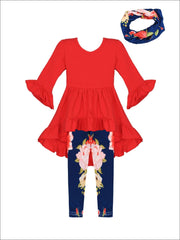 Girls Red Ruffled Tunic & Navy Floral Leggings + Scarf Set - Red / XS/2T - Girls Fall Set