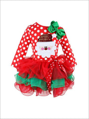 Girls Red Santa Christmas Themed Tutu Dress - Girls Christmas Dress