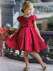 Girls Red Satin Floral Applique Holiday Princess Dress - Girls Fall Dressy Dress