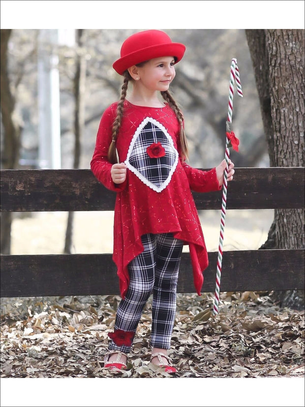 Girls Red Sequin Trimmed Side Tail Tunic with Plaid Printed Leggings Set - Girls Fall Casual Set