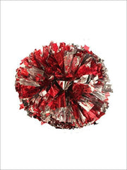 Girls Red & Silver Pair of Metallic Pom Poms - Girls Halloween Costume