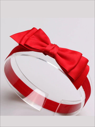 Girls Red Snow White Inspired Hair Bow Headband - Red - Hair Accessories