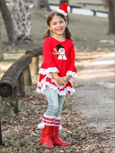 Girls Red Snowman Tunic with White Lace Ruffles - Girls Fall Top