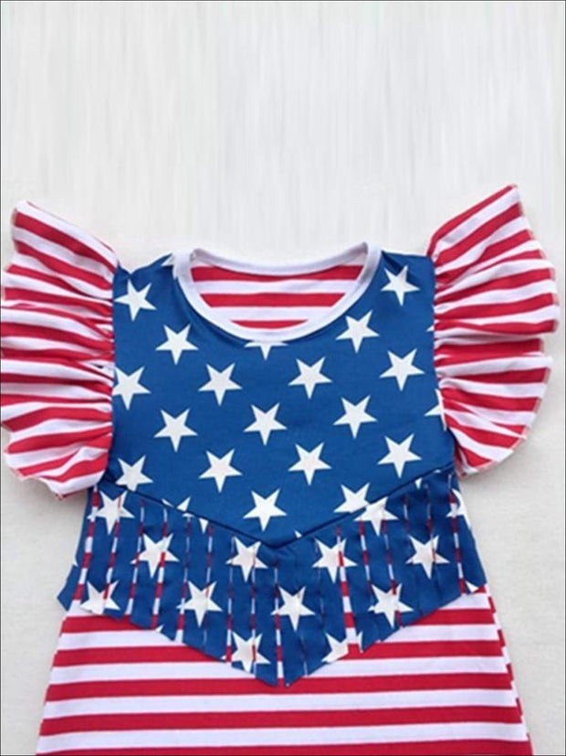 Girls Red Striped 4th of July Butterfly Sleeve Fringe Tunic Dress - Girls Fringe Dress