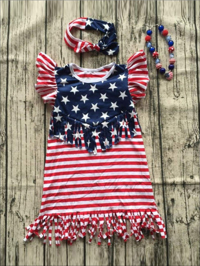 Girls Red Striped 4th of July Butterfly Sleeve Fringe Tunic Dress - Red/Royal / 3T - Girls Fringe Dress