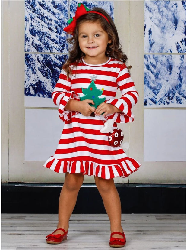 Girls Red Striped Fall Christmas Tree Applique Dress - Girls Fall Casual Dress