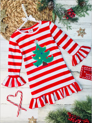 Girls Red Striped Fall Christmas Tree Applique Dress - Red/White / 2T - Girls Fall Casual Dress
