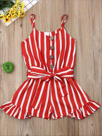 Girls Red Striped Ruffled Romper - 5T / Red - Girls Jumpsuit