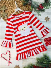 Girls Red Striped Santa Applique Ruffled Christmas Dress - Red / 2T - Girls Christmas Dress