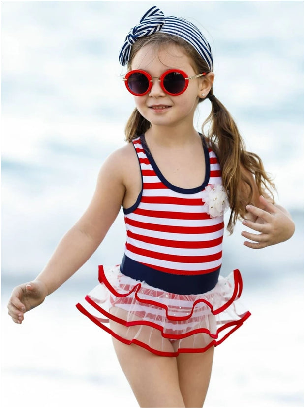 Girls Red Striped Tutu One Piece Swimsuit - Girls One Piece Swimsuit