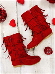 Girls Red Suede Tiered Fringe Boots - Red / 8 - Girls Boots