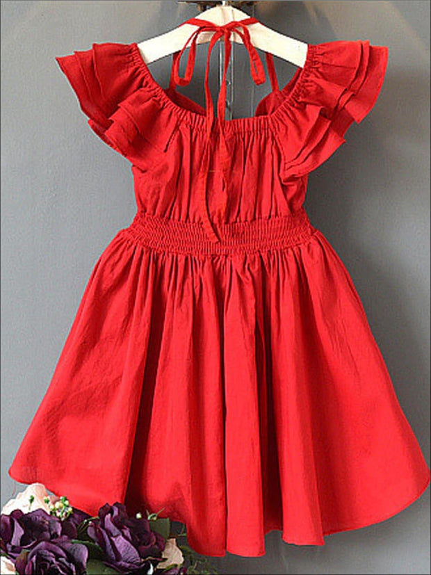 Girls Red Tiered Ruffle Off The Shoulder Tie Up A-Line Dress - Girls Spring Casual Dress