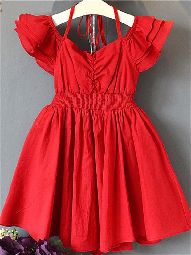 Girls Red Tiered Ruffle Off The Shoulder Tie Up A-Line Dress - Red / 3T - Girls Spring Casual Dress