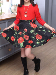 Girls Red Top & Rose Print High Waisted Skirt Set - Girls Fall Dressy Set