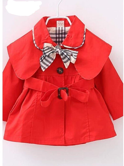 Girls Red Trench Coat with Plaid Bow - Red / 2T - Girls Jacket