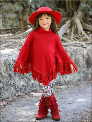 Girls Red Turtle Neck Sweater Fringe Poncho & Paris Print Leggings Set - Red / 2T/3T - Girls Fall Casual Set
