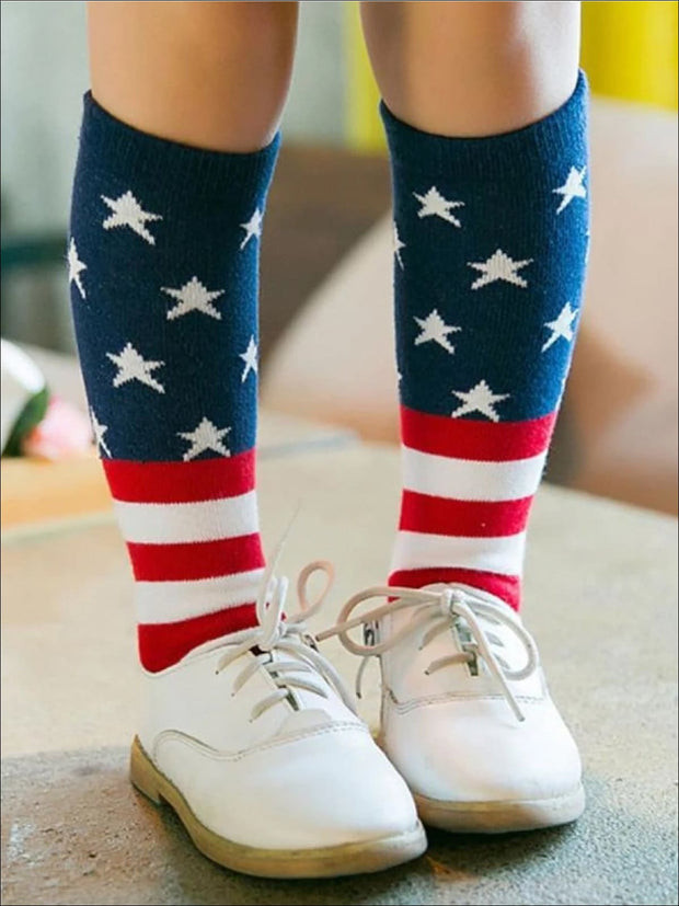 Girls Red White & Blue 4th of July Socks - Girls Accessories