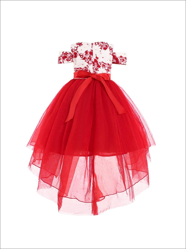 Girls Red & White Floral Cold Shoulder Hi-Lo Bow Tie Holiday Tutu Dress - Girls Fall Dressy Dress