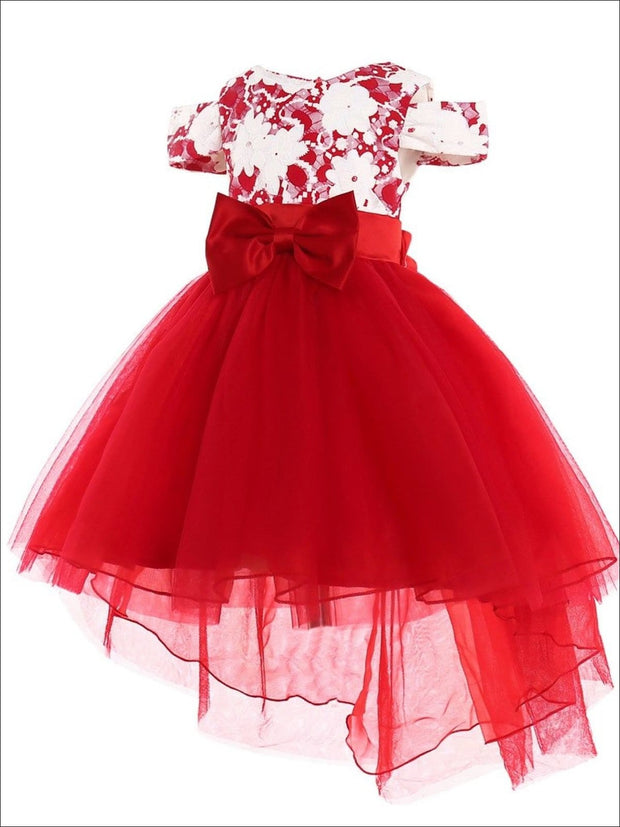 Girls Red & White Floral Cold Shoulder Hi-Lo Bow Tie Holiday Tutu Dress - Red / 2T - Girls Fall Dressy Dress