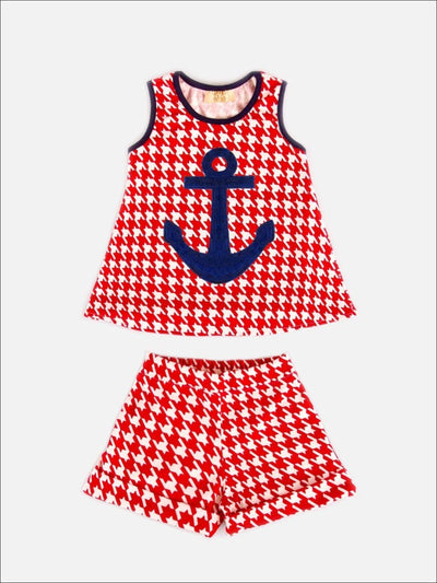 Girls Red / White Houndstooth Shorts Swing Set With Anchor - Girls Shorts Set