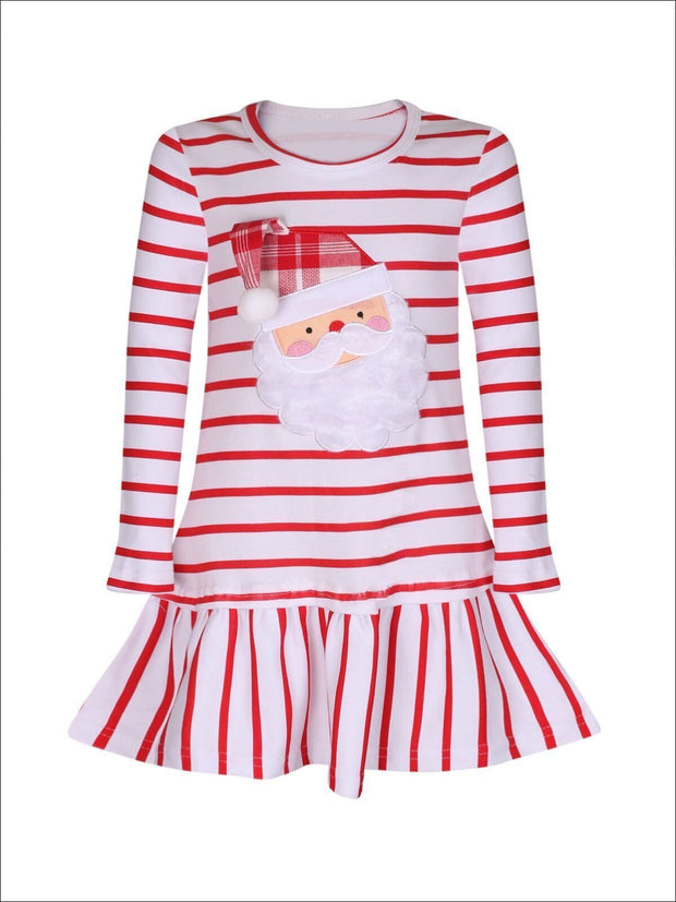 Girls Red & White Striped Santa Dress with Ruffles - Fall Low Stock