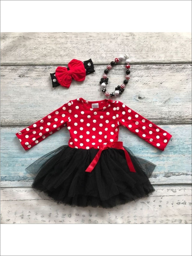 Girls Red/Black Dotted Tutu Dress (Accessories not included) - Red/Black / 2T/XS