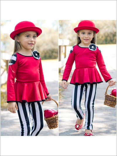 Girls Red/Black Long Sleeve Peplum Patch Top & Legging - Girls Fall Sets