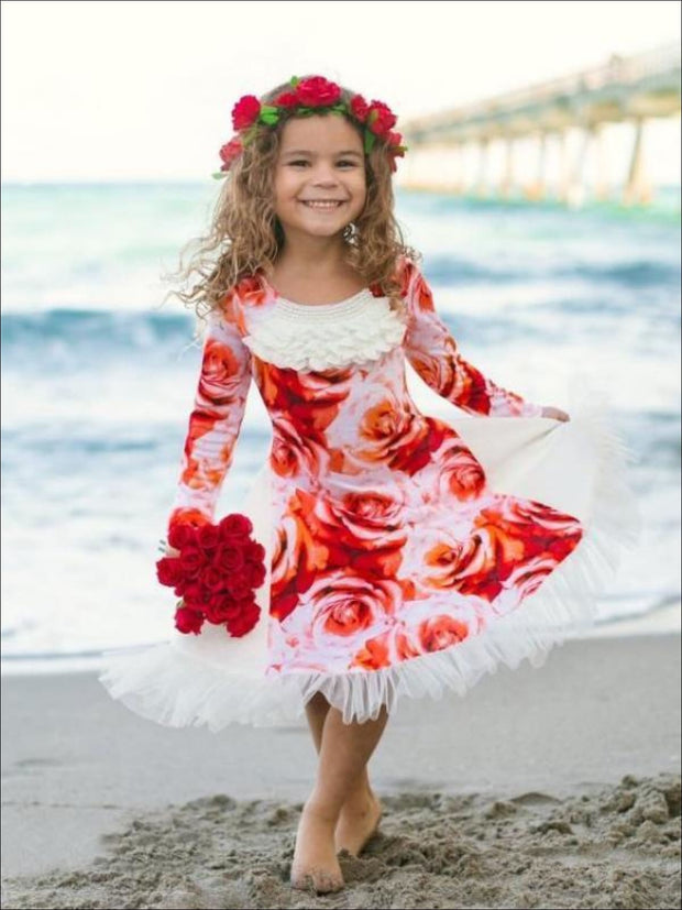 Girls Red/Creme Twirl Dress w/ Side Panels - Fall Low Stock