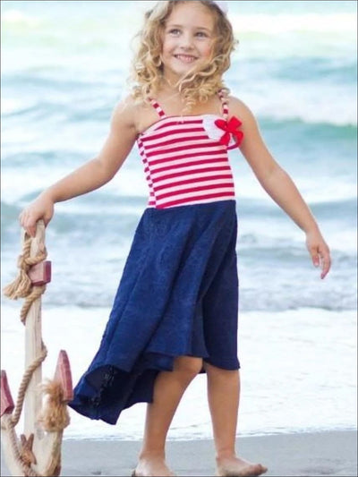 Girls Red/Navy Jacquard Skirted Hi Lo Dress - Girls Spring Casual Dress