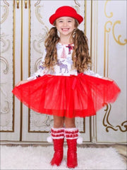 Girls Reindeer Print Red Holiday Tutu Dress - Girls Christmas Dress