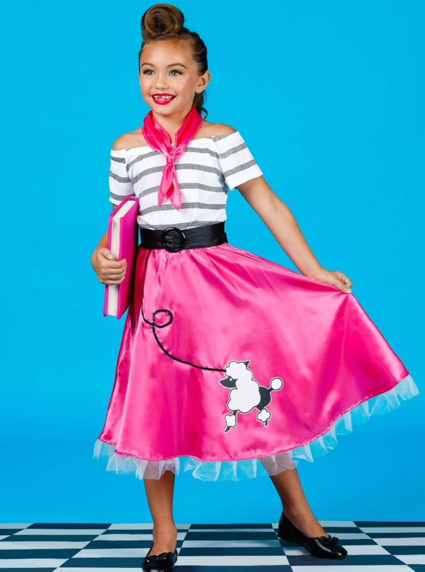 Girls Retro 50s Poodle Girl Halloween Costume - Pink / 4T-6Y - Girls Halloween Costume