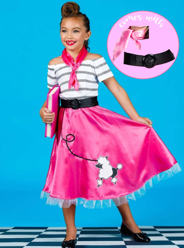 Girls Retro 50's Poodle Girl Halloween Costume