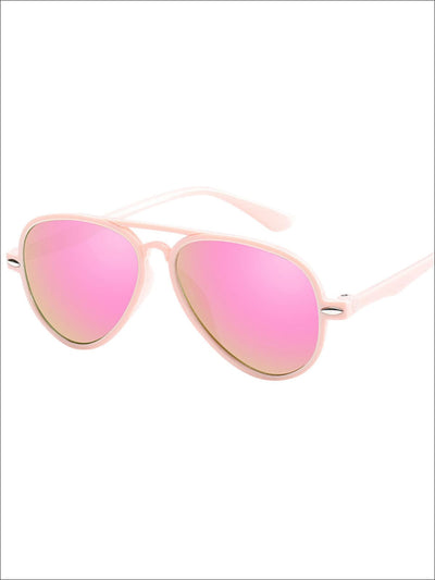 Girls Retro Color UV Protection Aviator Sunglasses - Pink - Girls Accessories