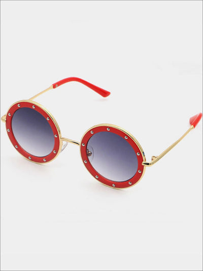 Girls Retro Crystal Studded Sunglasses - Girls Accessories