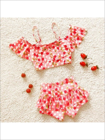 Girls Retro Peachy Pink Dotted Cherry Ruffled Bikini With Skirted Boy Shorts - Peachy Pink / 3T - Girls Two Piece Swimsuit