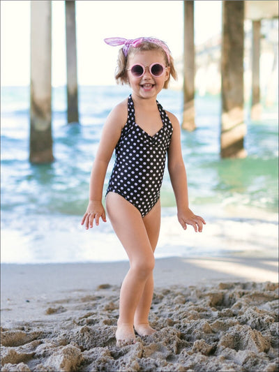 Girls Retro Polka Dot One Piece Halter Swimsuit - Girls One Piece Swimsuit